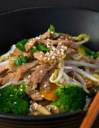 Sesame Pork And Noodle Salad